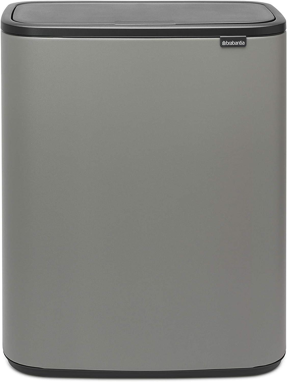 Brabantia Bo Touch Poubelle de Recyclage 2 x 30 L Gris b/éton min/éral 60 l 2 x 30 L