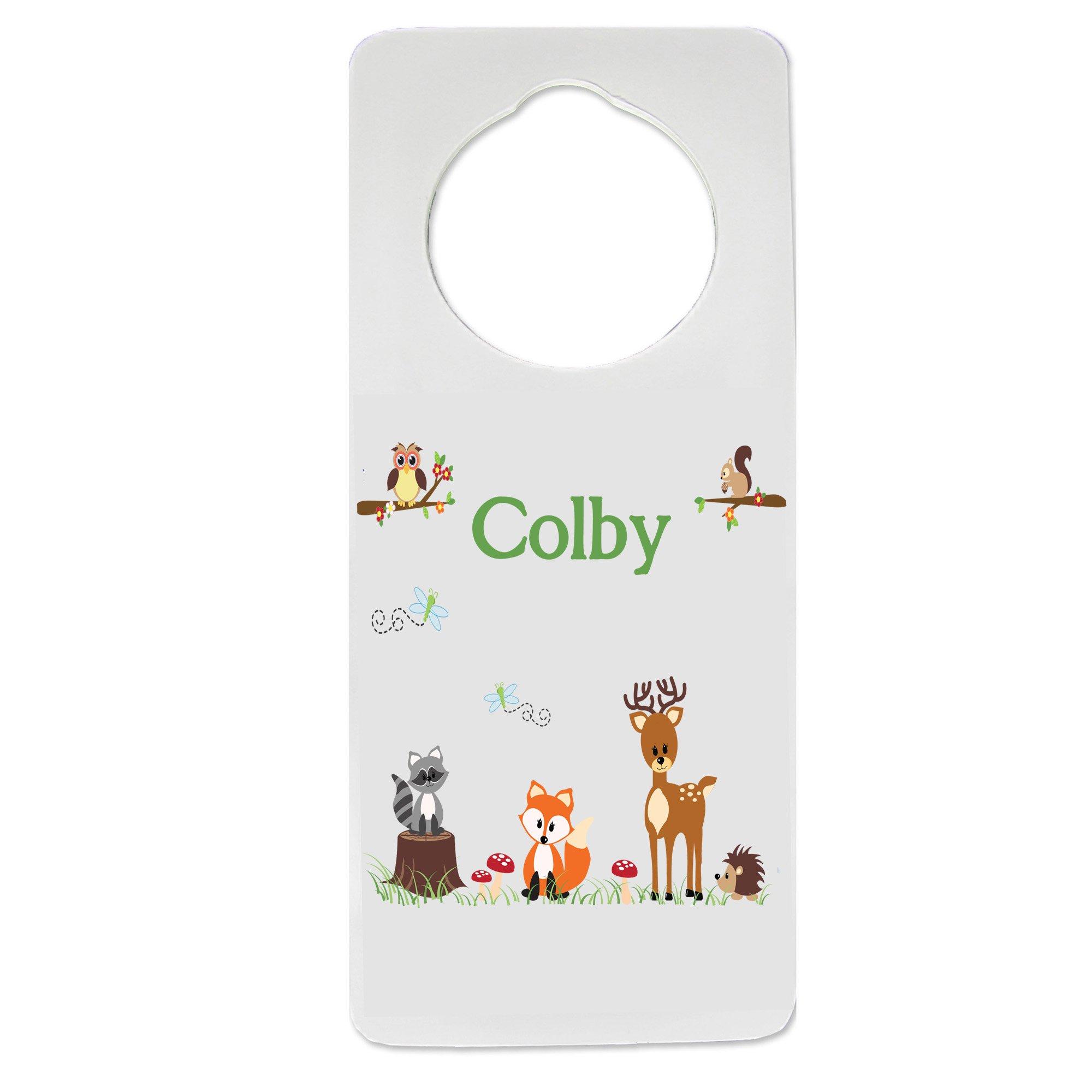 Personalized Nursery Door Hanger with Green Forest Animal design