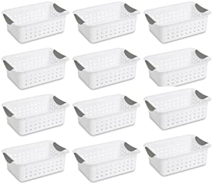 12) Sterilite 16228012 Small Ultra Plastic Storage Bin Organizer Baskets -White (non-0903)