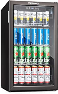 Euhomy Beverage Refrigerator and Cooler, 115-120 Can Mini fridge with Glass Door, Small Refrigerator with Adjustable Shelves for Soda Beer or Wine, Perfect for Home/Bar/Office, Black Stainless Steel