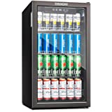Euhomy Beverage Refrigerator and Cooler, 115-120 Can Mini fridge with Glass Door, Small Refrigerator with Adjustable…