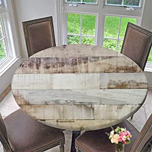 PINAFORE HOME Modern Simple Round Tablecloth Wood Texture Decoration Washable 51.5