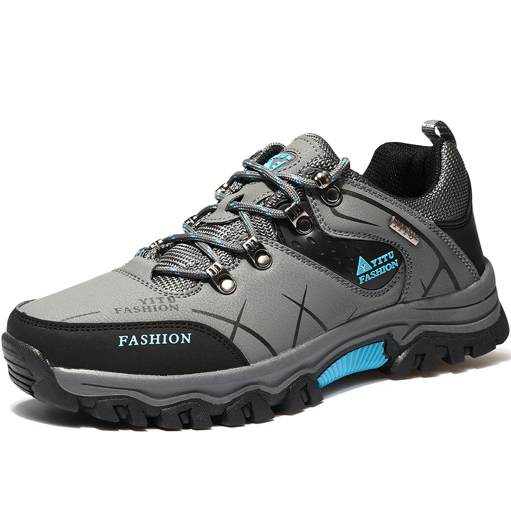 VILOCY Men's Hiking Boots Trekking Shoes Low Top Antiskid Cushioning Boots Outdoor Sneaker Grey,45