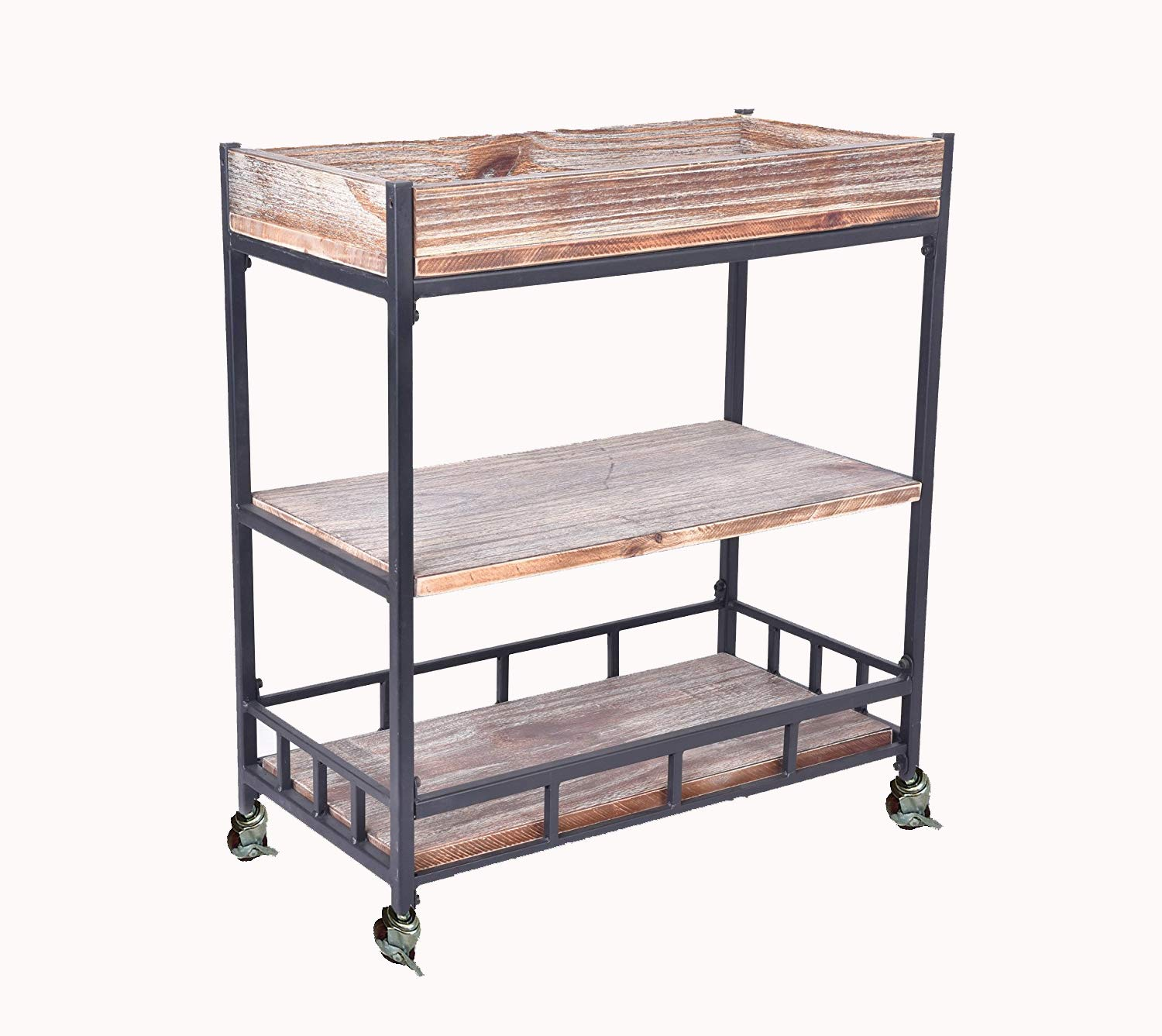 Diwhy Industrial Urban Wood Metal Wheels Storage Wine Beverage Rolling Wine Cart QUANZHOU AUTO FURNITURE CO. LTD