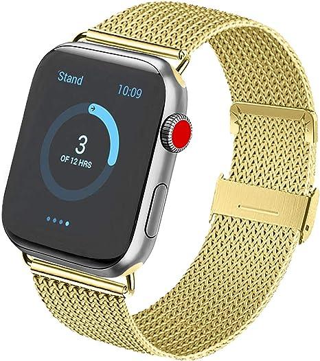 Imagen deVanjua Metal Correa Compatible con Apple Watch Correa 44mm 42mm 38mm 40mm,Pulsera de Repuesto de Inoxidable Correa para iWatch Series 5 4 3 2 1,Mujer y Hombre (42mm/44mm, 07 Oro)
