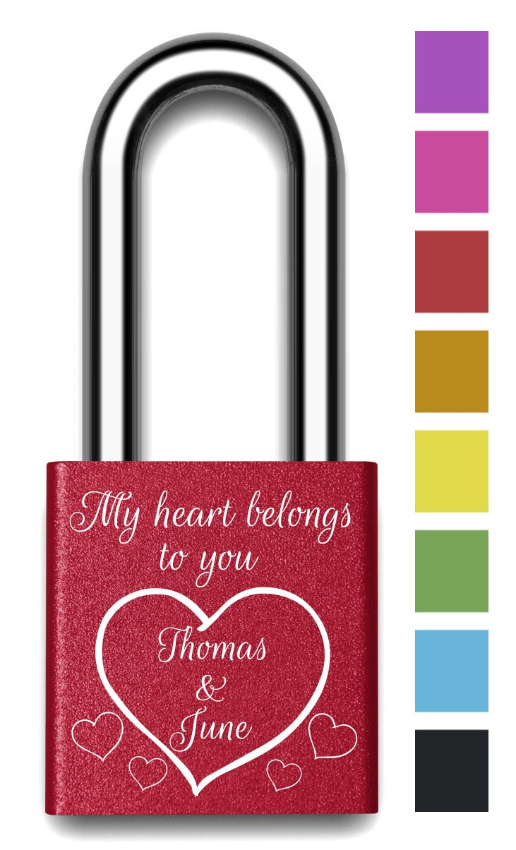 Customizable MakeLoveLocks - My Heart is Yours Love Lock 2'' Red