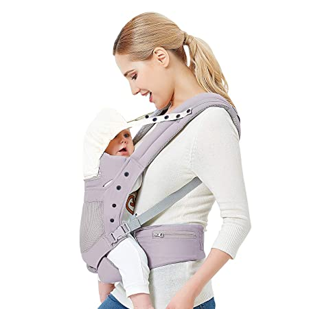 Baby Carrier with Adjustable Hip Seat,Baby Wrap Carrier with Hood, Soft Breathable Backpack Front and Back for Infants to Toddlers Up to 44 lbs – Gray