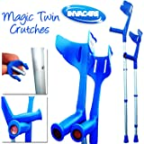 Invacare® 'Magic Twin' Strong Adjustable Crutches - Blue