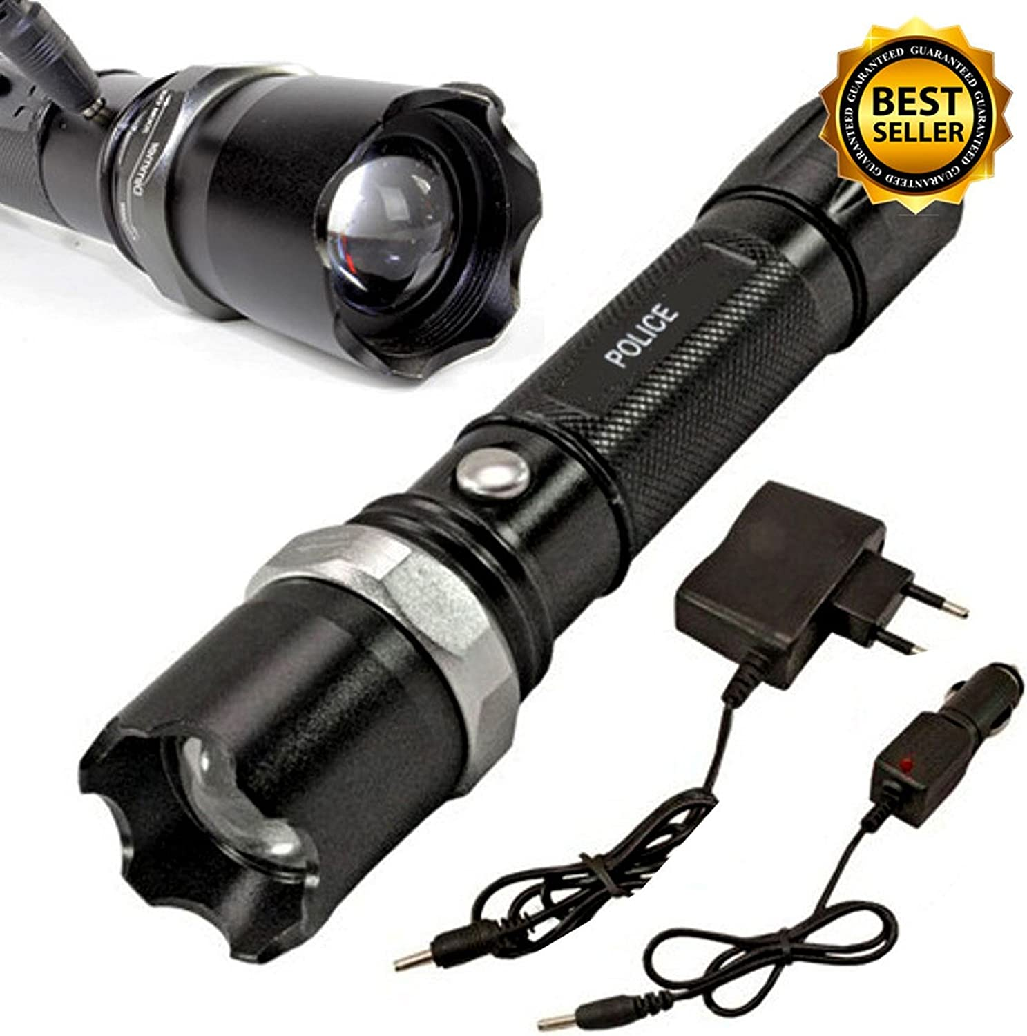 Tactical Police Heavy Duty 3W LED Rechargeable Flashlight Outdoor Portable Troch