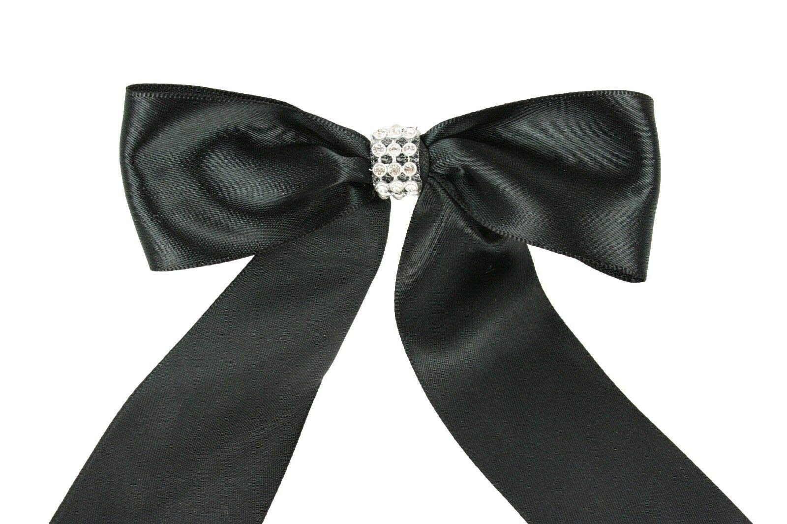 Black (Set of 10) Pre-Made 1-1/2'' Satin Bows Rhinestone Center Design with Wire Tie #DPNH