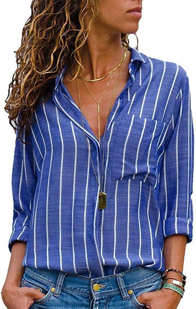 Sunnywill Camisetas Mujer Tallas Grandes Verano Originales Blusa Mujer Elegante Manga Largo Algodón Fiesta Rayas Camisas T Shirt Women Tops Largo asimétrico: Amazon.es: Ropa y accesorios