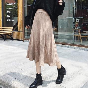 MEILIDE Falda para Mujer Otoño e Invierno Falda de Punto Cintura ...