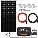 ECO-WORTHY 12 V 150 W mono solpanelsystem med 20 A LCD-laddningskontroll, 5 m soladapterkit, Z-stöd för off Grid RV…