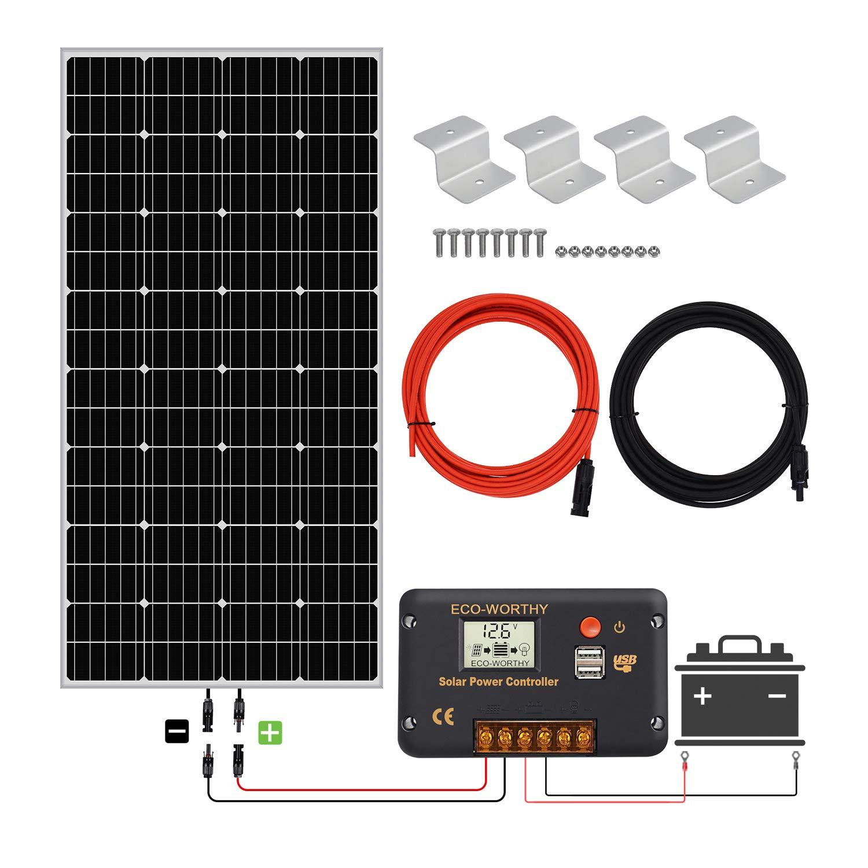 ECO-WORTHY Kit de arranque solar mono de 150 W 12 V con 20 A AMP LCD controlador de carga para rejilla de apagado RV barco autocaravana