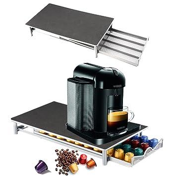 40 Cápsulas Pods cajón de almacenamiento Soporte Máquina de café para Nespresso, estructura de acero inoxidable: Amazon.es: Hogar