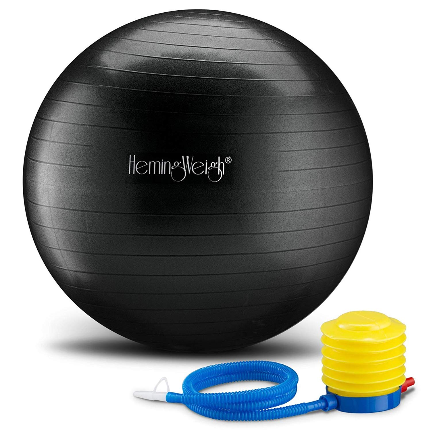 HemingWeigh Static Strength Exercise Stability Ball with Foot Pump | Perfect for Fitness Stability and Yoga | Helps Improve Agility, Core Strength, and Balance (Black, 75cm)