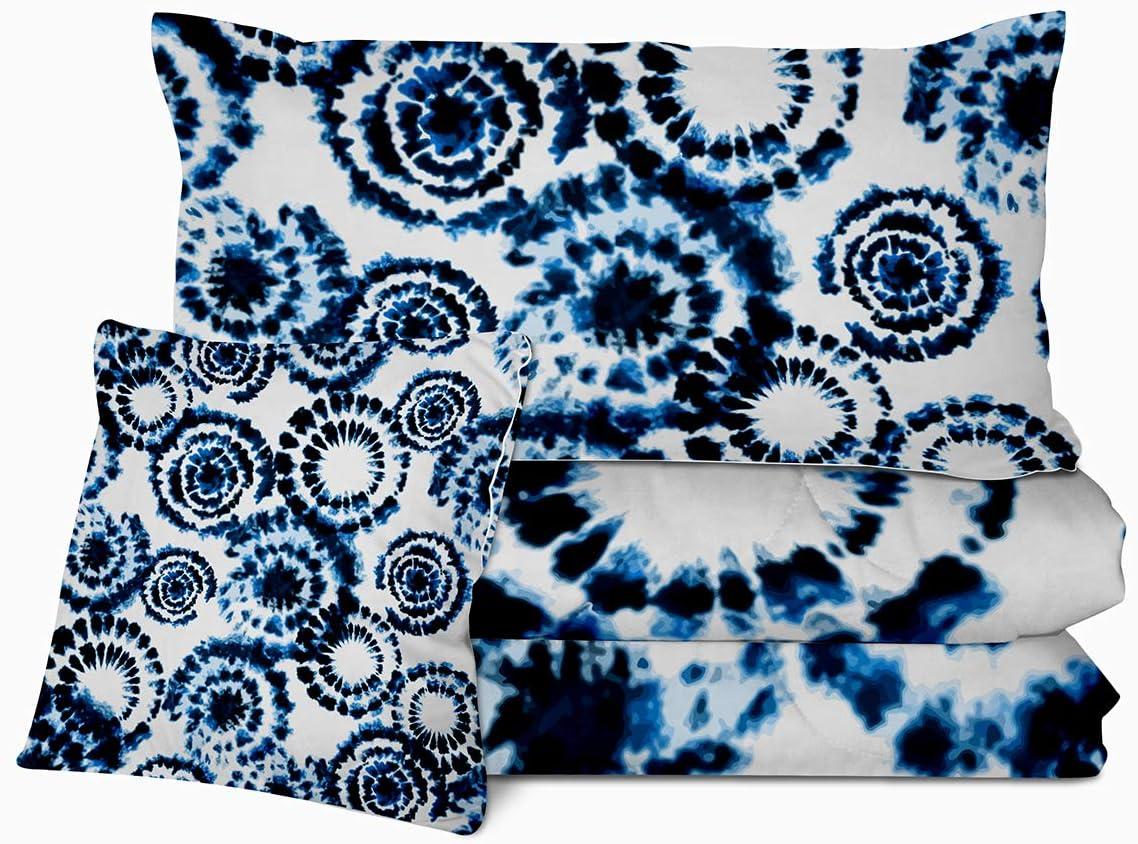 Sleepwish Boho Full Comforter Set Blue Tie Dye Bedding Set 4 Pieces 1 Reversible Comforter 2 Pillow Cases 1 Cushion Cover
