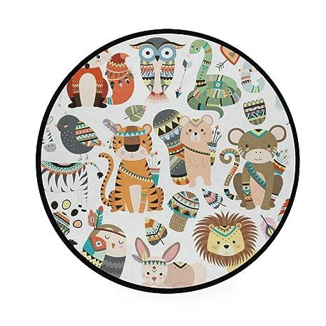 Alfombra redonda con diseño de animales de la selva de ...