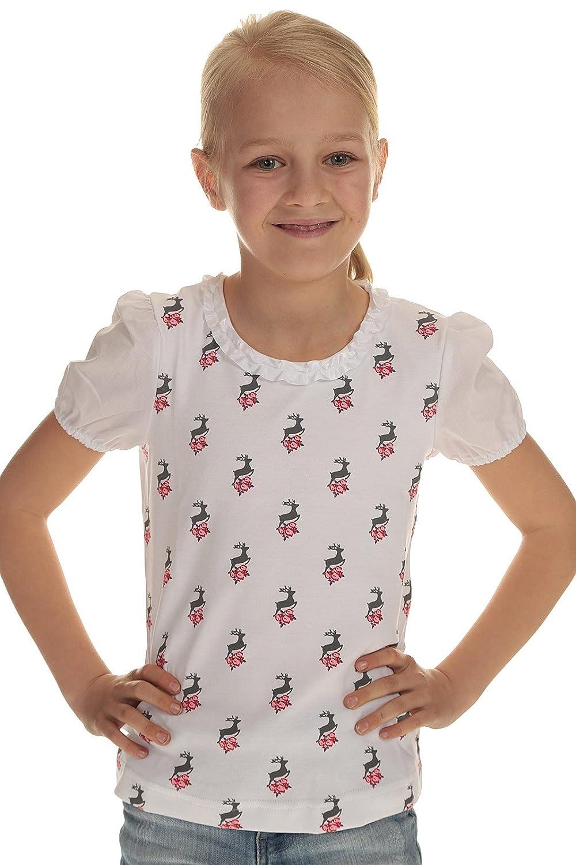 Stoiber Kinder T-Shirt weiß Trachten Shirt Mädchen mit Hirschdruck