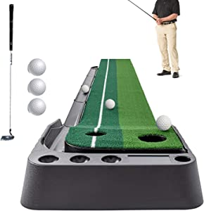 Sinolodo Golf Putting Mat Indoor Putting Green with Ball Return Including 3 Training Balls-9.84ft Long