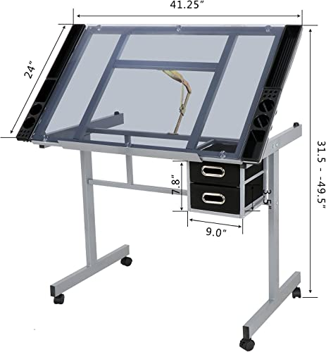 ZENY Glass Top Adjustable Drawing Desk Craft Station Drafting Table Tempered Glass Top Art Craft Desk w 2 Slide Drawers and Wheels