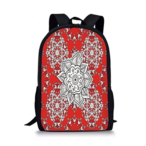 a4488e34f3a0 Amazon.com: iPrint School Bags Red Mandala,Tribal Asian Ethnic ...