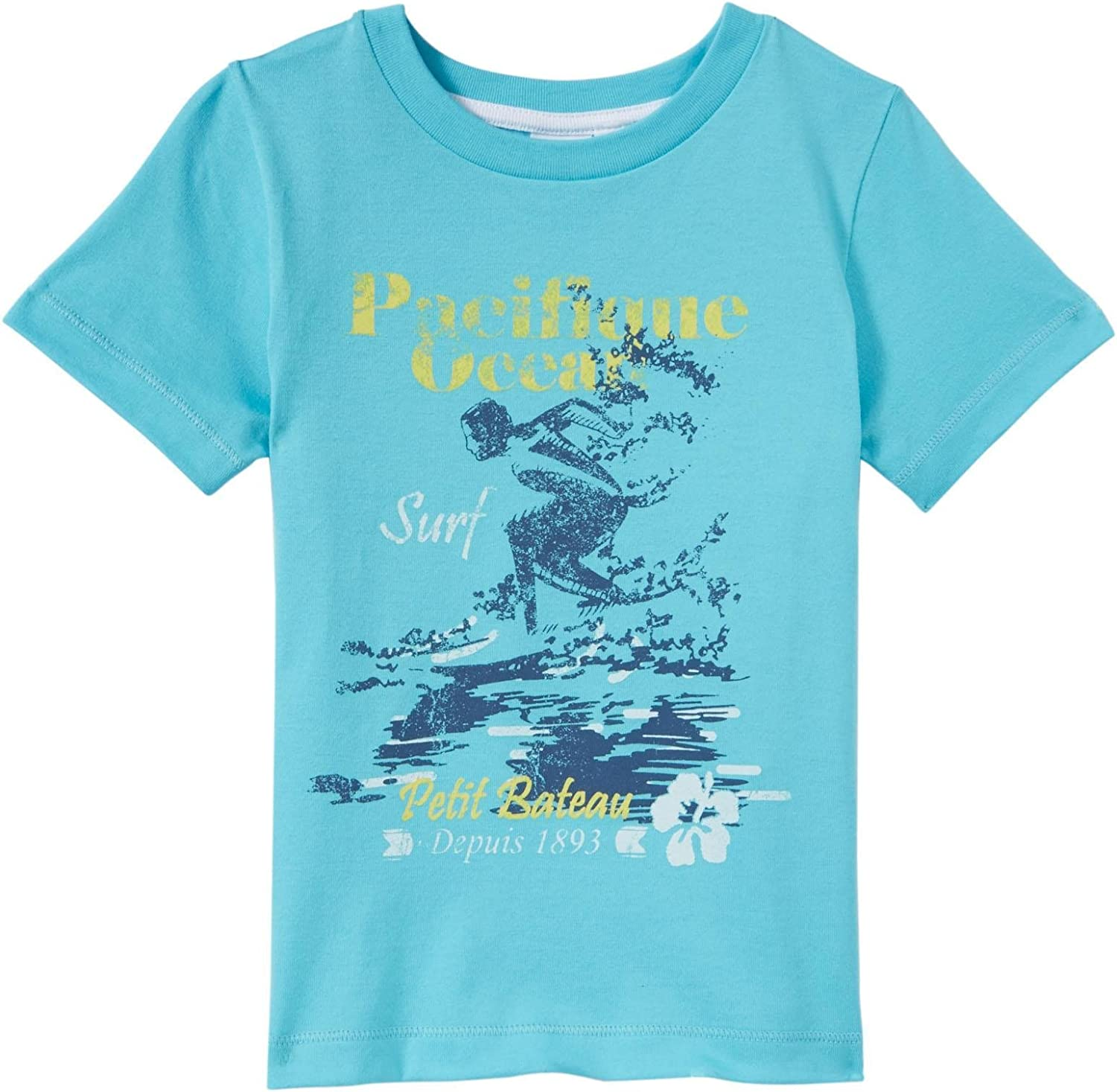 Toddler Kids Blue-4 Years Petit Bateau Tee with Graphics