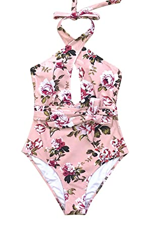 6ad3ba4b14 CUPSHE Women s Pink Floral Crisscross Neckline High Leg Belted One Piece Swimsuit  Small