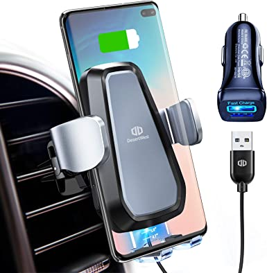 DesertWest Wireless Car Charger Phone Mount, Auto-Clamp Fast Charger Qi-Certified Cell Phone Air Vent Holder for QI Smartphones QC 3.0 Charger Adapter Blue