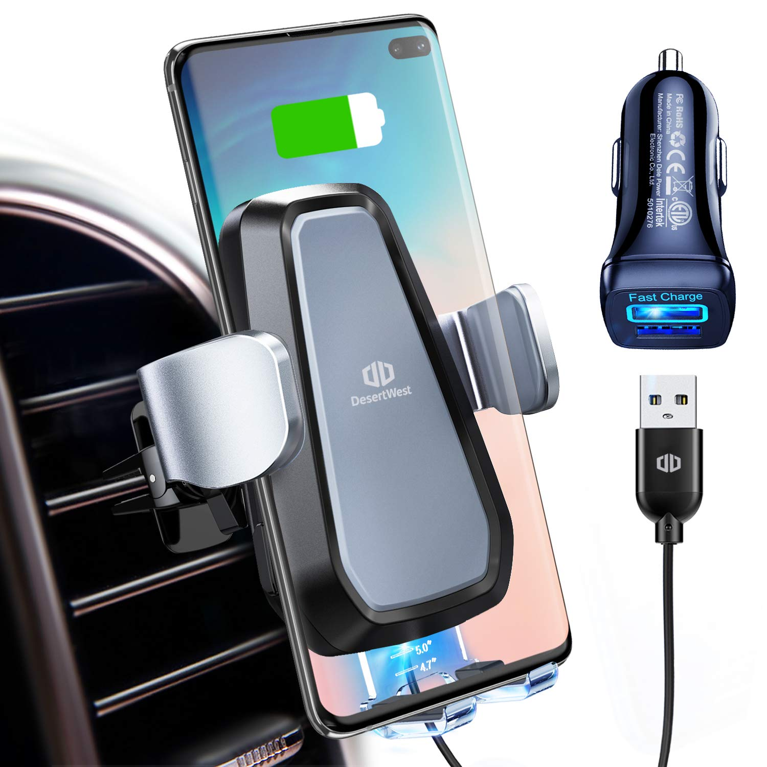 DesertWest Qi Wireless Car Charger Mount, Automatic Clamping, 10W/7.5W Fast Charging, Air Vent Motorized Cell Phone Holder for Car Compatible with iPhone Xs Max XR 8 Plus, Samsung S10 S9 S8, LG V30