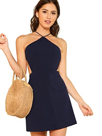 d9b563e1ac Romwe Women s Sexy Strappy Open Back Halter Sleeveless Shift Dress at Amazon  Women s Clothing store