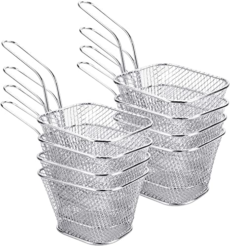 DECARETA Canasta para freír de 8 piezas, mini canastas para freidora, soporte para papas fritas, canasta de acero inoxidable para papas fritas, ...