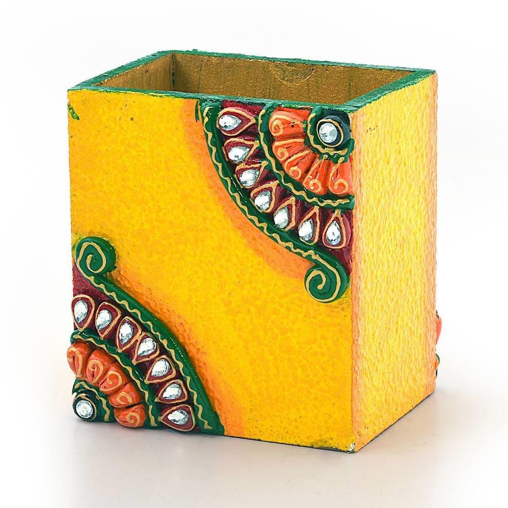 Little India Decorative Kundan Meenakari Wooden Pen Stand 252