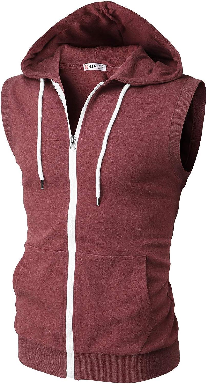 H2H Mens Casual Slim Fit Zip-up Hoodie Vest Lightweight Sleeveless Hooded