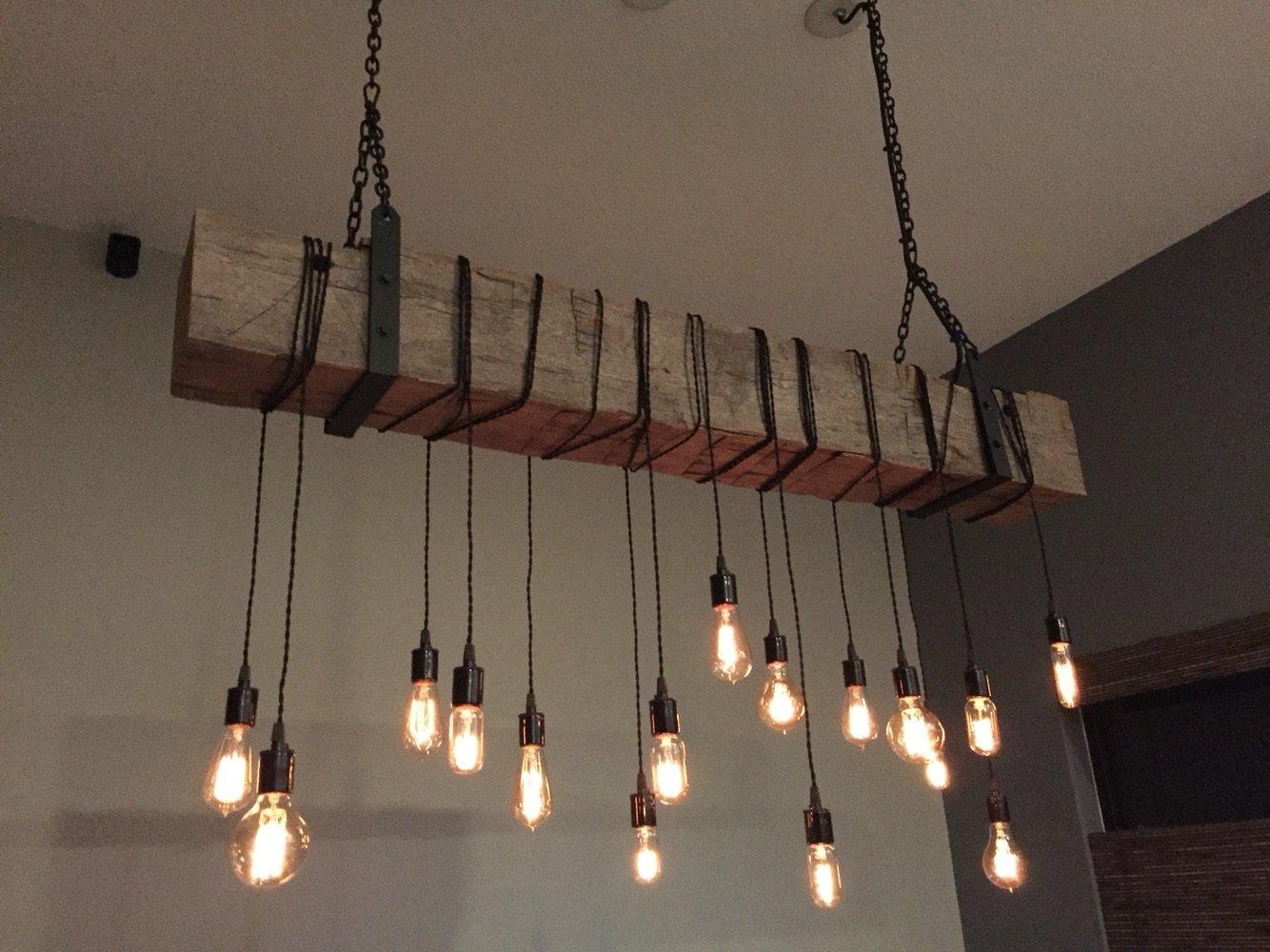 Amazon com reclaimed 84 barn beam light fixture with 16 edison