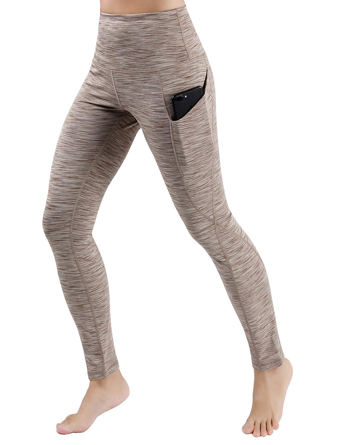 ODODOS High Waist Out Pocket Yoga Pants Tummy Control Workout Running 4 Way Stretch Yoga Leggings,SpaceDyeBrown,X-Small