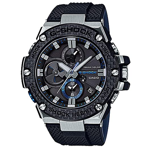 Mens Casio G-Shock G-Steel Black Carbon and Resin Bluetooth Watch GSTB100XA-1A