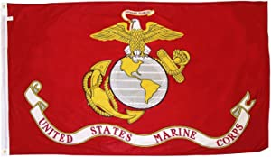 U.S. Marine Corps Military Flag 3x5 ft. - Durable Polyster Material - Large USMC Flag With Brass Grommets - For Hanging Outside or a Wall Inside