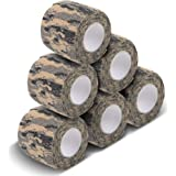 """AIRSSON 6 Roll Camouflage Tape Cling Scope Wrap Military Camo Stretch Bandage Gun Rifle Shotgun Camping Hunting 2"""" x6 yds Self-Adhesive ¡"""