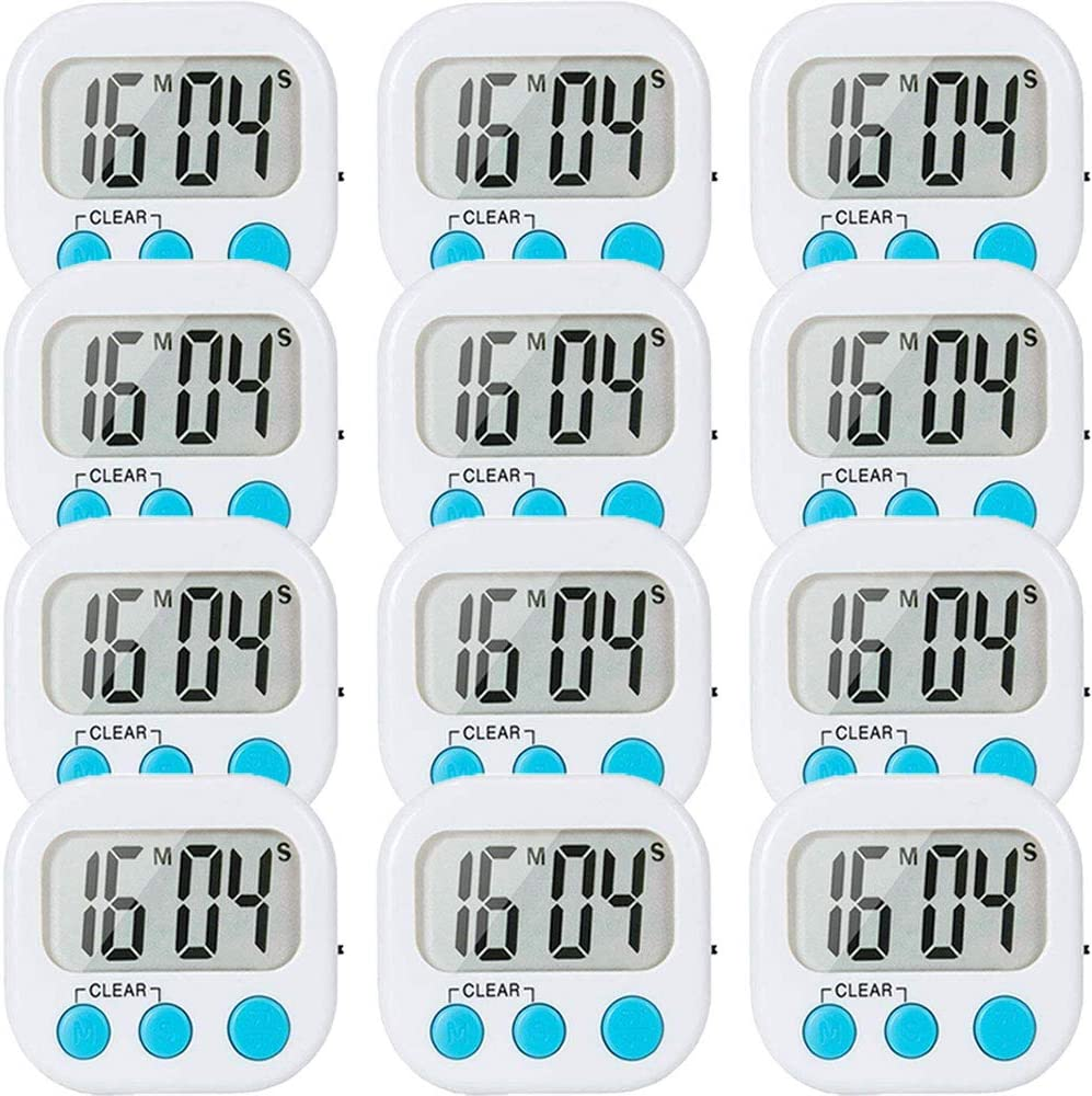 12 Pack Digital Kitchen Timer Classroom Small Timers for Teacher Homework Cooking Strong Magnetic Loud Alarm ON/OFF Switch White