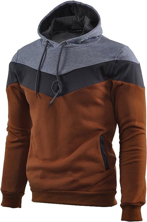 TALLA M. Mooncolour Sudadera deportiva con capucha para hombre, muy confortable, diseño de colores, ideal para el otoño