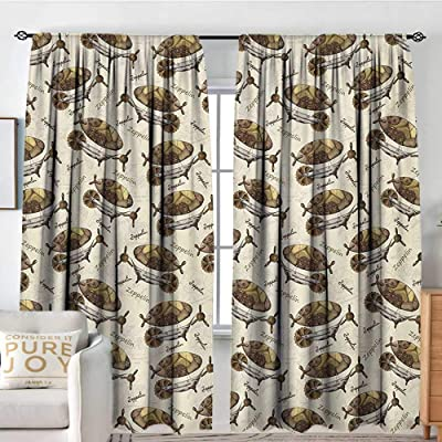 "NUOMANAN Curtain Panels,Set of 2 Zeppelin,Military Style Aircrafts Motif in The Dark Tones Flying Adventure Graphic,Cream Cocoa Khaki,Modern Farmhouse Country Curtains 100""x96"": Home & Kitchen"