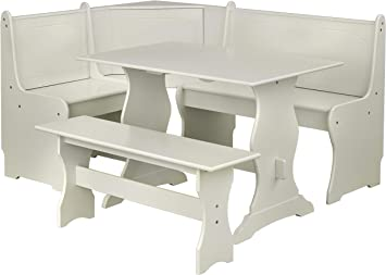 Amazon Com Target Marketing Systems 3 Piece Breakfast Nook Dining Set With A L Shaped Storage Bench And A Trestle Style Dining Table And Bench Antique White Furniture Decor
