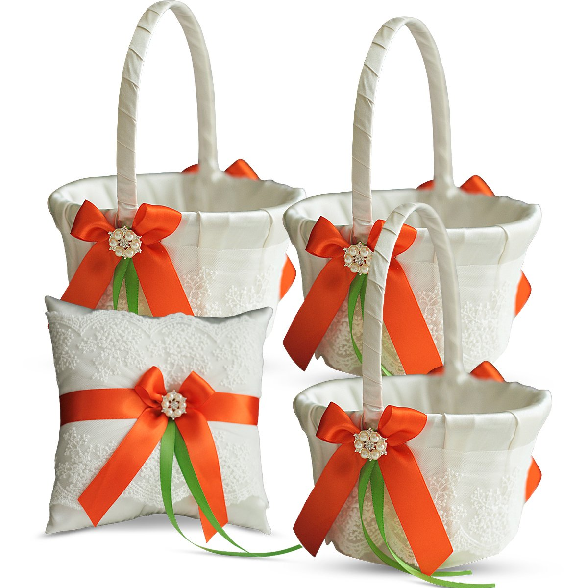 Roman Store Ivory Ring Bearer Pillow and Basket Set | Lace Collection | Flower Girl & Welcome Basket for Guest | Handmade Wedding Baskets & Pillows (Orange Lime) by Roman Store (Image #1)