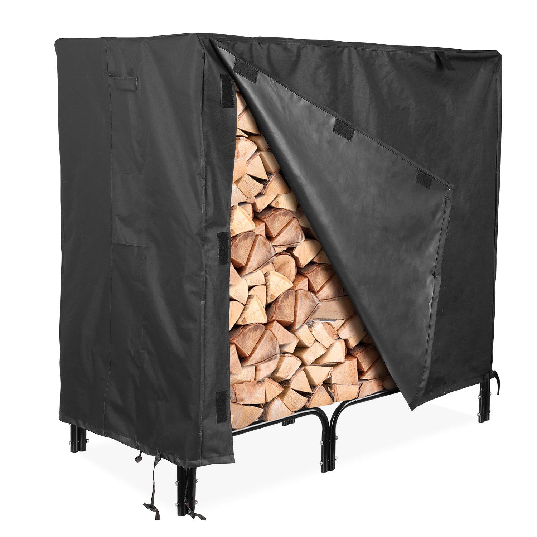 femor Firewood Rack Cover, 4 Feet 600D Heavy Duty Waterproof Patio Log Rack Outdoor Cover, Black
