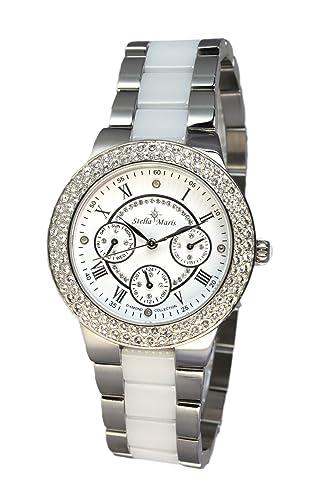 Stella Maris Damen-Armbanduhr Analog Quarz Premium Keramik Diamanten - STM15S1