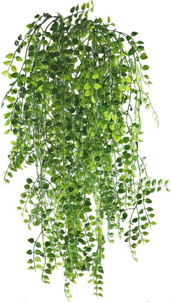 MIHOUNION 2 pcs Plantas Enredaderas Artificiales Exterior simulación de Plantas Colgantes de plástico Verde decoración para Pared Boda Jardin cafetería