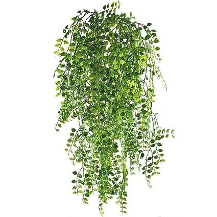 mihounion 2pcs plantas enredaderas artificiales exterior simulacin de plantas colgantes de plstico verde decoracin para pared - Plantas Colgantes
