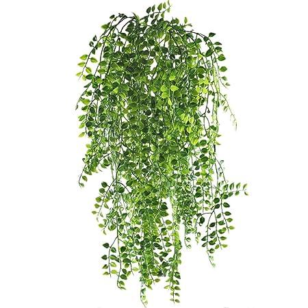 MIHOUNION Plantas Colgantes Artificiales Plantas Enredaderas Verdes Artificiales Plantas de Plastico UV para Interior Exterior Balc/ón Gancho Decoraci/ón 2pcs
