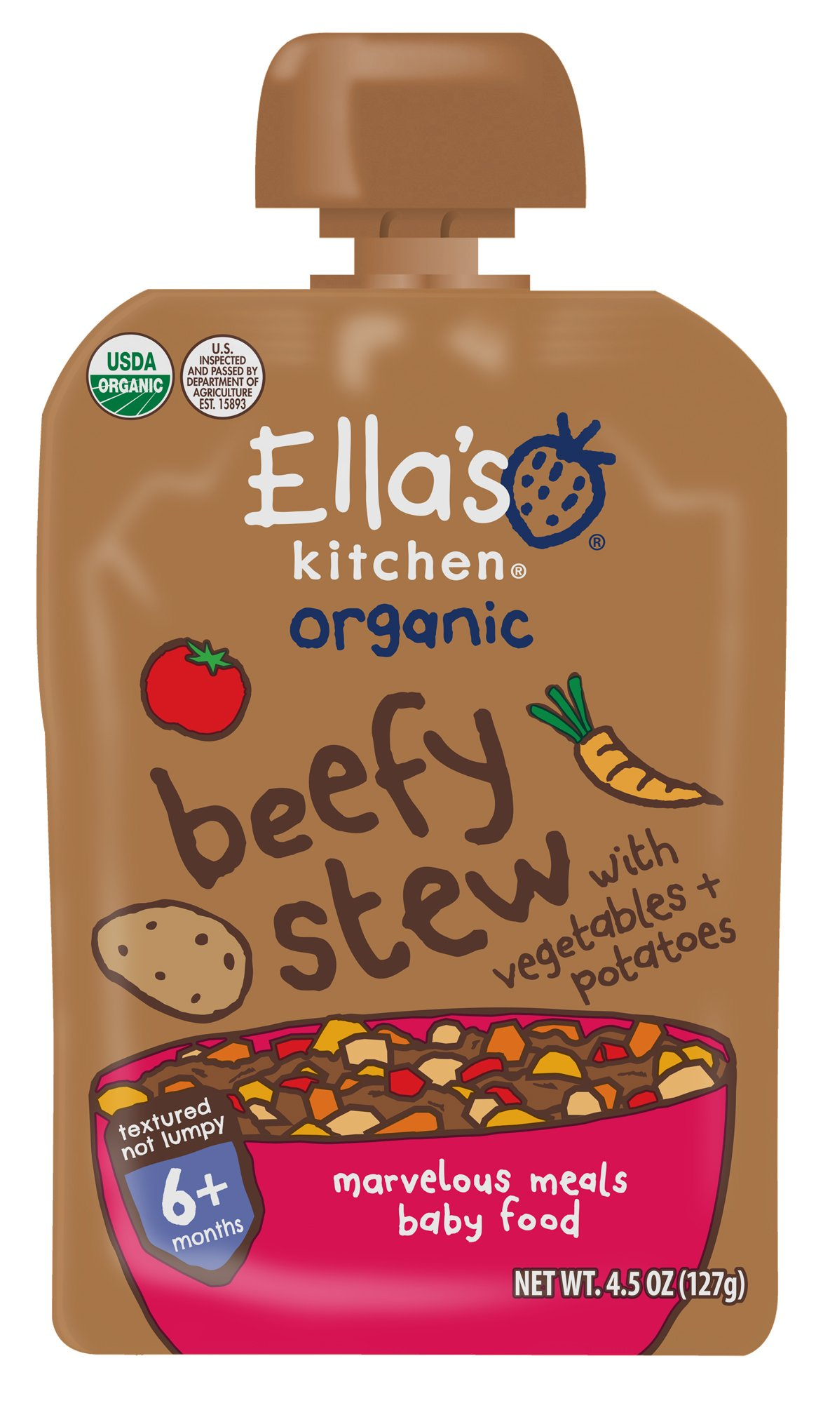 Ella's Kitchen Organic 6+ Months Baby Food, Beefy Stew with Vegetables and Potatoes, 4.5 oz. Pouch (Pack of 6)